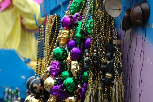 Mardi Gras float beads
